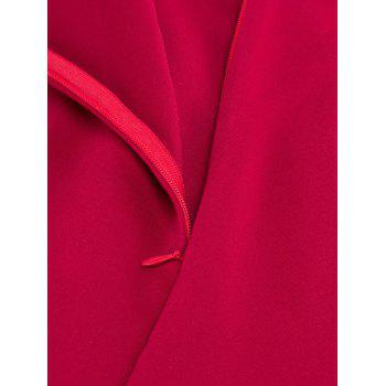 Plunging Neck Lace Panel Swing Skater Dress - Rouge vineux XL