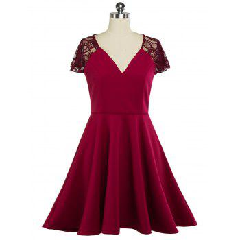 Plunging Neck Lace Panel Swing Dress
