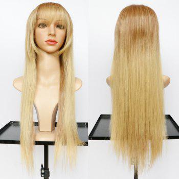 Elegant Long Light Brown Mixed Fluffy Straight Women's Synthetic Wig