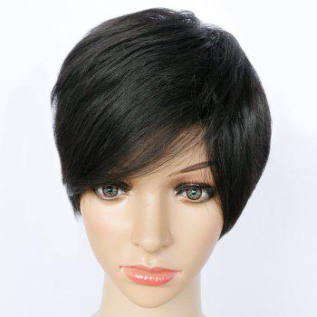 Pixie Cut Side Bang Short Straight Synthetic Capless Wig - BLACK