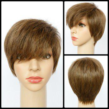 Spiffy Ultrashort Side Bang Straight Mixed Color Synthetic Wig