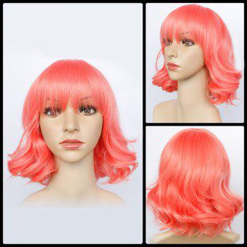 Short Neat Bang Wavy Bright-Coloured Synthetic Wig