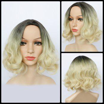 Double Color Centre Parting Short Fluffy Wavy Synthetic Capless Wig