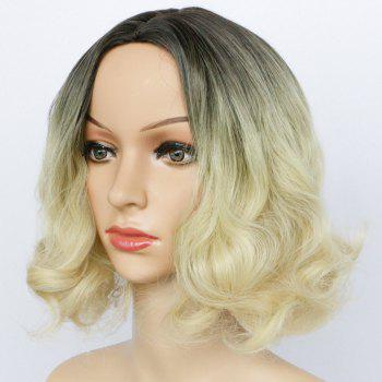 Double Color Centre Parting Short Fluffy Wavy Synthetic Capless Wig - COLORMIX