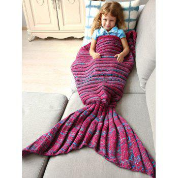 Good Quality Warm Kintted Wrap Mermaid Tail Blanket For Kids - BLUE AND RED M