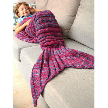 Good Quality Warm Kintted Wrap Mermaid Tail Blanket For Kids - BLUE/RED S