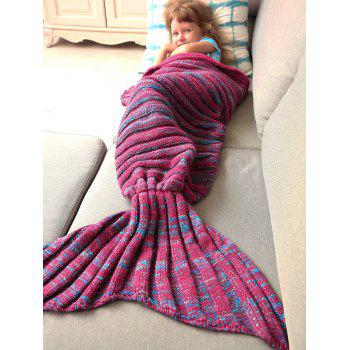 Good Quality Warm Kintted Wrap Mermaid Tail Blanket For Kids - BLUE/RED BLUE/RED