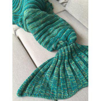 Good Quality Warm Kintted Wrap Mermaid Tail Blanket For Kids - GREEN GREEN