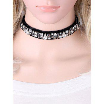 Faux Leather Rhinestone Choker Necklace