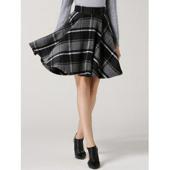 High Waisted Tartan Flare Skirt