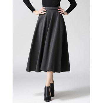 High Waisted Wool Blend Midi Full Skirt