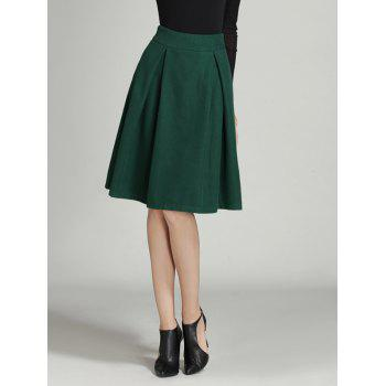 Wool Ruched A Line Circle Skirt - BLACKISH GREEN S