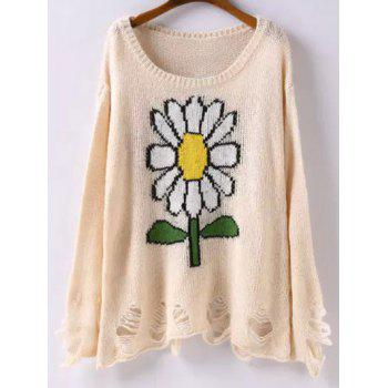 Long Sleeve Sunflower Jacquard Ripped Sweater