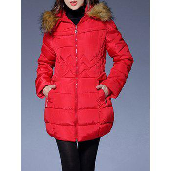 Faux Fur Trim Hooded Down Coat