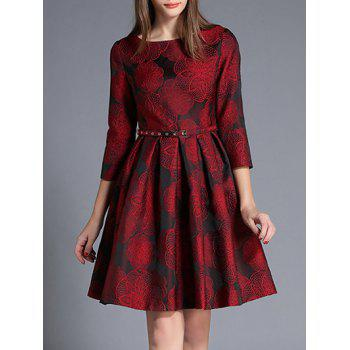High Waist Jacquard Dress With Belt
