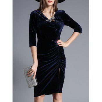Velvet Ruched Rhinestone Dress