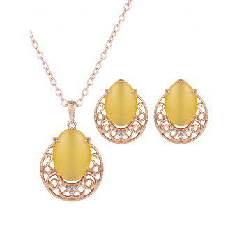 Faux Opal Rhinestone Jewelry Set