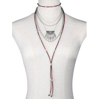 Feather Chain Faux Leather Multilayer Necklace
