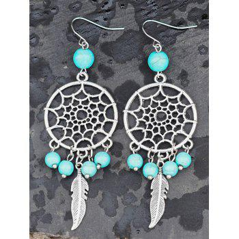 Faux Turquoise Hollow Out Feather Earrings