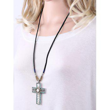 Rhinestone Cross Faux Leather Rope Necklace