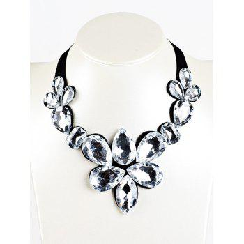 Water Drop Fake Crystal Ribbon Necklace