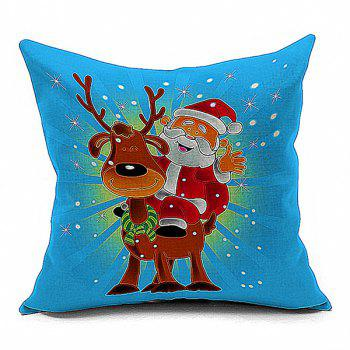 Cartoon Santa Claus Deer Pattern Throw Pillow Case