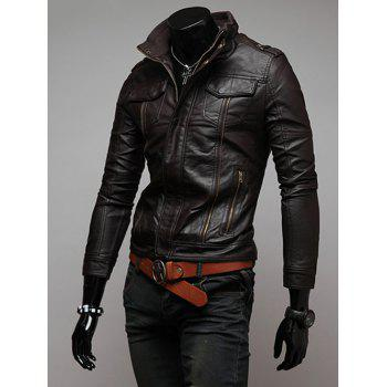 Zippers Design Faux Leather Biker Jacket
