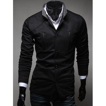 Slim Fit Button Up Stand Collar Pocket Jacket