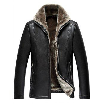 Stand Collar Zipper PU Leather Thermal Jacket