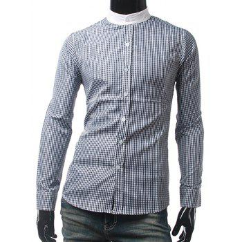 Long Sleeve Mandarin Collar Checked Shirt