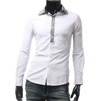 Long Sleeve Slim Fit Grid Shirt
