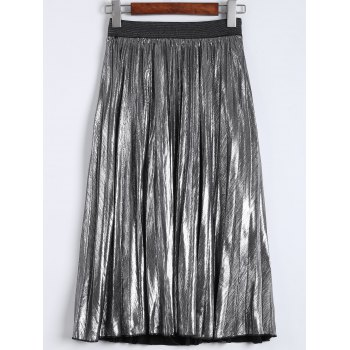 Pleated Metallic Color Midi Skirt