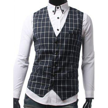 Slim Fit Single Breasted Checkered Waistcoat
