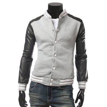 Snap Front Striped Rib Trim Faux Leather Insert Jacket
