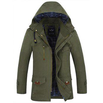 Multi Pocket Button Tab Cuff Zippered Hooded Jacket