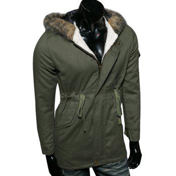 Flocking Drawstring Waist Faux Fur Hooded Coat