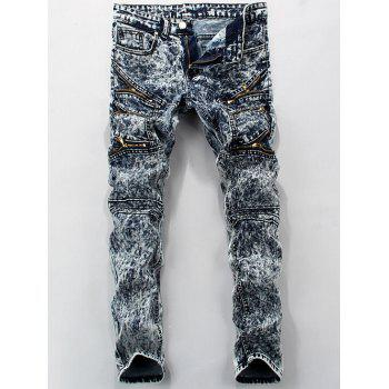 Pocket Mid Rise Zippered Snow Wash Jeans