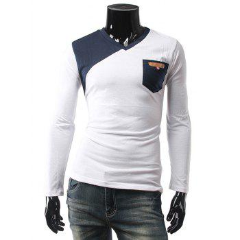 V Neck Contrast Pocket Long Sleeve T-Shirt
