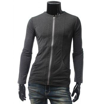 Pocket Long Sleeve Zip Up T-Shirt