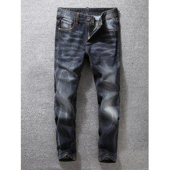Scratched Zipper Fly Tapered Fit Jeans
