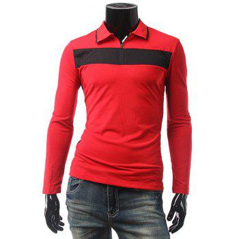 Zip Up Contrast Panel Polo T-Shirt