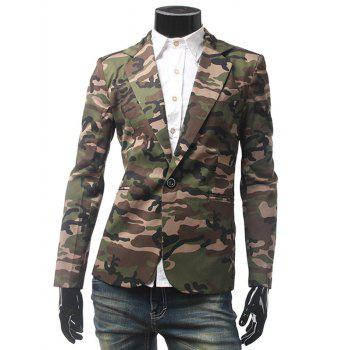 Camo Pocket One Button Blazer
