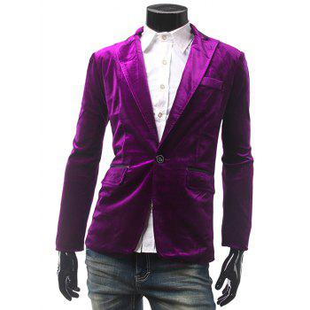 Notch Lapel Trimmed Pocket One Button Blazer