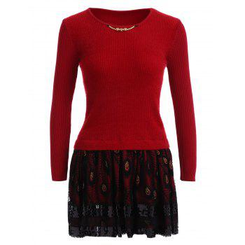 Feather Printed Fuzzy Sweater Dress - RED RED