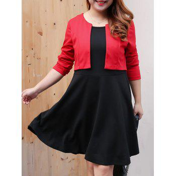 Plus Size Color Block Overlay Swing Dress