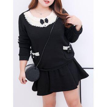 Plus Size  Fleece Mini Skirt With Sweatshirt