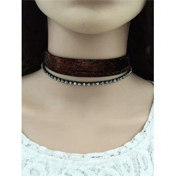 Rhinestone Velvet Choker Necklace Set