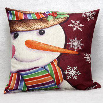 Merry Christmas Snowman Pattern Home Throw Pillow Case
