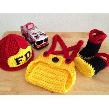 Newborn Crochet Firemen Photography Prop Costume Set