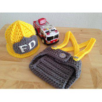 Newborn Crochet Firemen Photography Prop Clothes Set